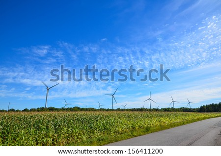Windmills by a corn field at blue sky on the island Oland in Sweden.