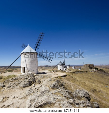 windmills, Campo de Criptana, Castile-La Mancha, Spain - stock photo