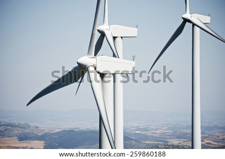windmills for clean energy production renewable electric, Aras, Navarre, Spain - stock photo