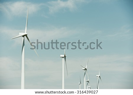 Windmills for electric power production, Burgos Province, Castilla Leon, Spain.