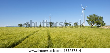 windmills for  electric power production, Gurrea de Gallego, Huesca, Aragon, Spain - stock photo