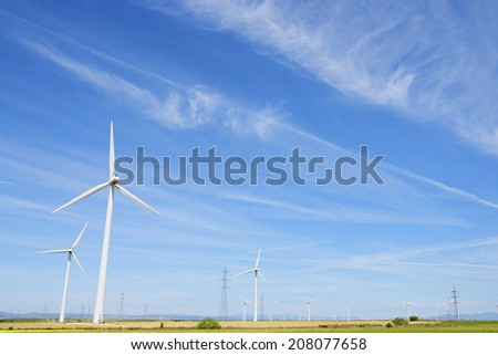 Windmills for electric power production, Huesca province, Aragon, Spain
