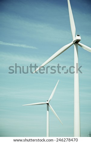 Windmills for electric power production, Huesca province, Aragon, Spain - stock photo