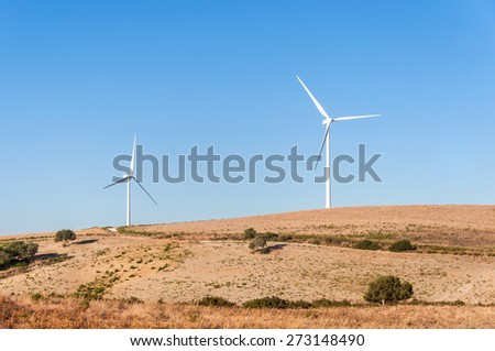 Windmills for electric power production in Andalusia region in Spain