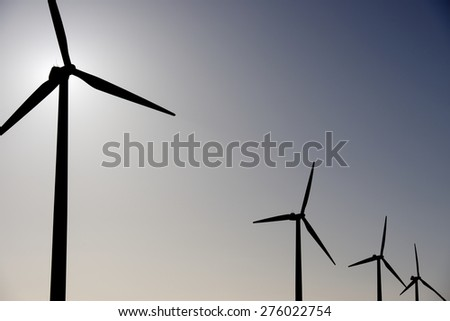 Windmills for electric power production, La Muela, Zaragoza Province, Aragon, Spain. - stock photo