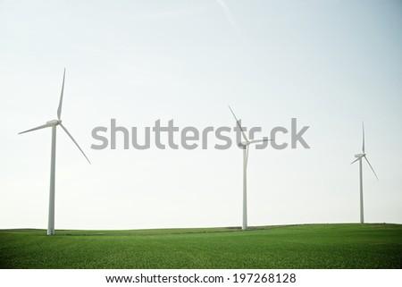 Windmills for electric power production, Pozuelo de Aragon, Zaragoza, Aragon, Spain - stock photo