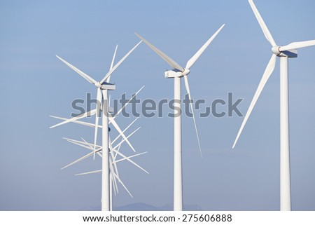 Windmills for electric power production, Pozuelo de Aragon, Zaragoza, Aragon, Spain. - stock photo