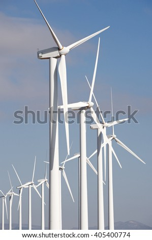 Windmills for electric power production, Pozuelo de Aragon, Zaragoza, Aragon, Spain.