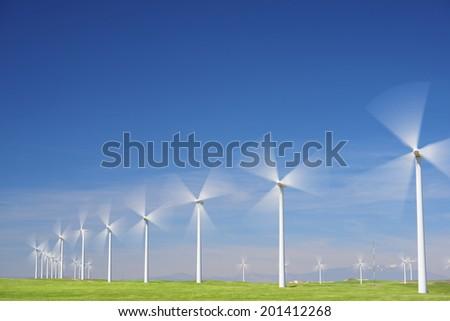 Windmills for electric power production, Zaragoza province, Aragon, Spain - stock photo