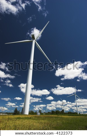 Windmills for generating electricity.