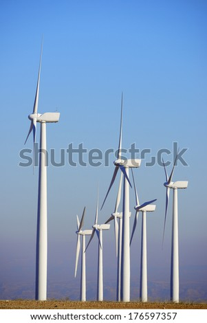 Windmills for renewable electric energy production, Pozuelo de Aragon, Zaragoza, Aragon, Spain