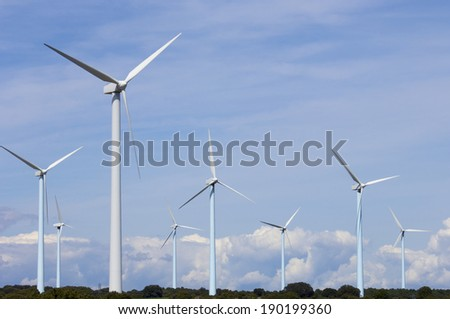 Windmills for renewable electric energy production, Zaragoza Province, Aragon, Spain