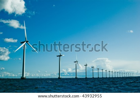 Windmills further, horizontal - stock photo
