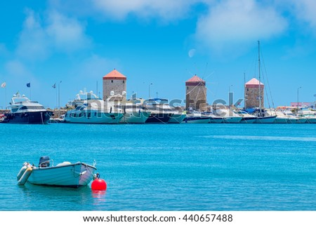 Windmills in Mandraki Harbour. Rhodes, Greece, Europe - stock photo