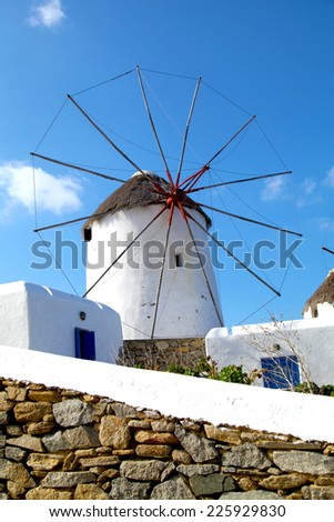Windmills in Mykonos Greece - stock photo