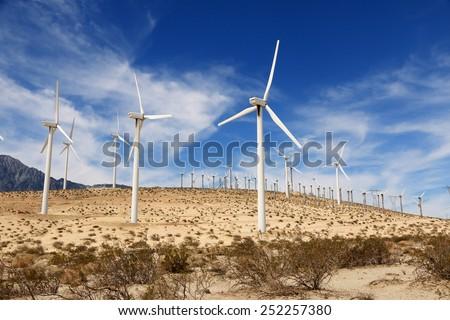 Windmills in Palm Springs, California, USA - stock photo