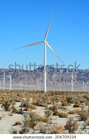 Windmills in the desert of Imperial Valley California. - stock photo