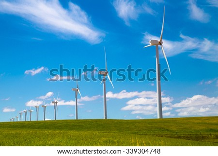 Windmills in the hills of Spain.