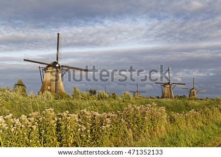 windmills in the sunset