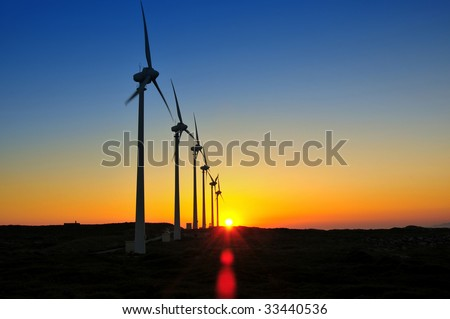 Windmills in the sunset sky energy environments