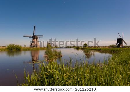 Windmills Kinderdijk Holland - stock photo