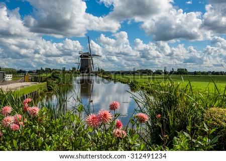 Windmills near Leidschendam, South Holland, Netherlands   - stock photo