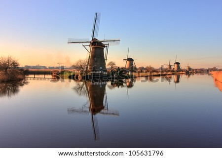 Windmills of Kinderdijk with Reflection, Netherlands