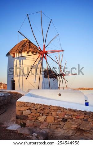 Windmills of Mykonos, famous landmark. Greece. - stock photo