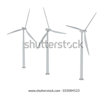 Windmills on a white background