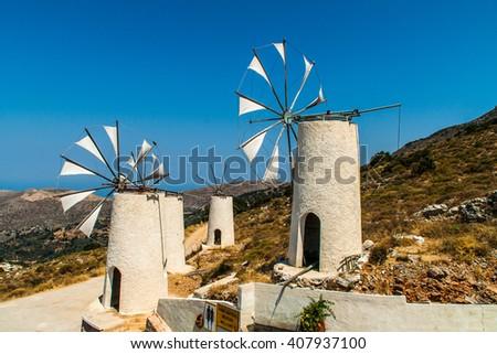 windmills on Crete, Greece - stock photo