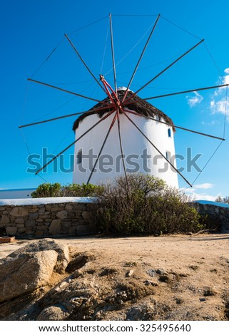 windmills on mykonos, greece - stock photo