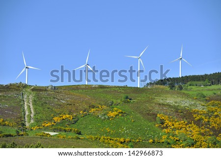 Windmills park in mountain nature from Spain