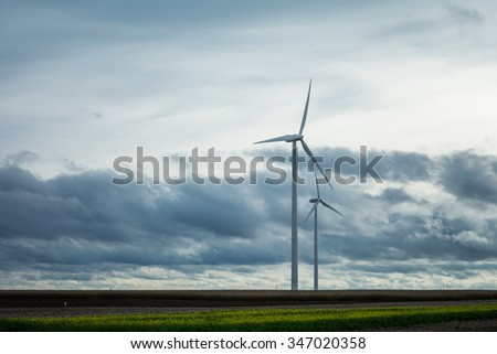 Windmills producing the energy