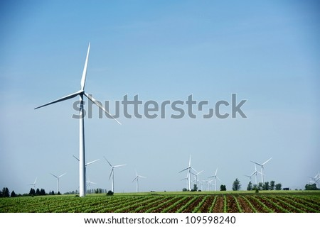 Windmills - Wind Turbines Landscape. Natural Energy Sources Theme. Technology Photography Collection. - stock photo