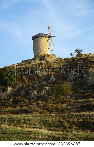 windmills with bright sky in Foca