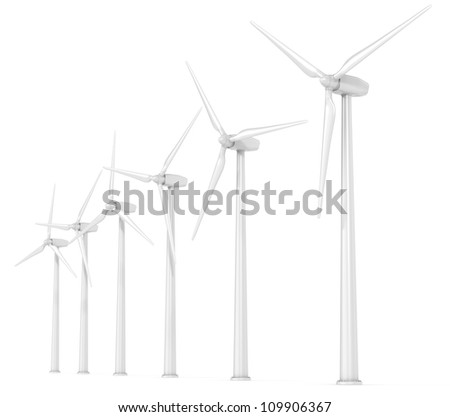 Windmills. 6 X Wind Turbines in a Row. Perspective view. White Background.