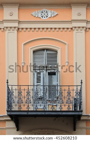Window and balcony on the wall