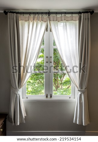 Window and curtain Vintage - stock photo