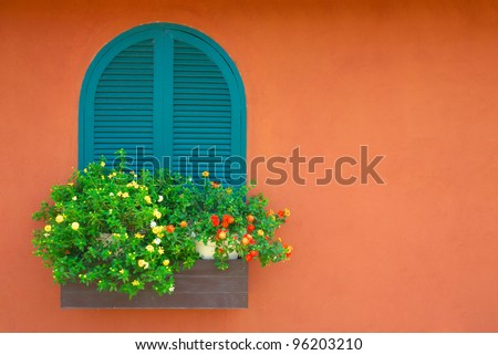 window and flowerpot - stock photo