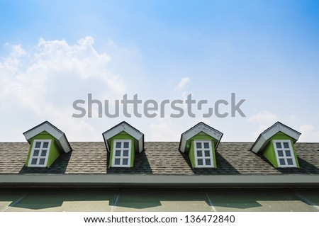 window and garret roof - stock photo