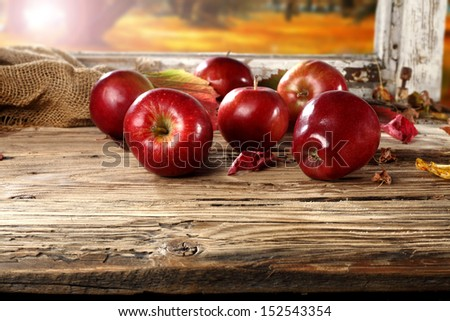 window and red apples  - stock photo