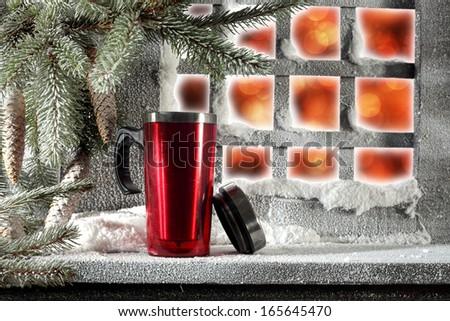 window and red mug  - stock photo