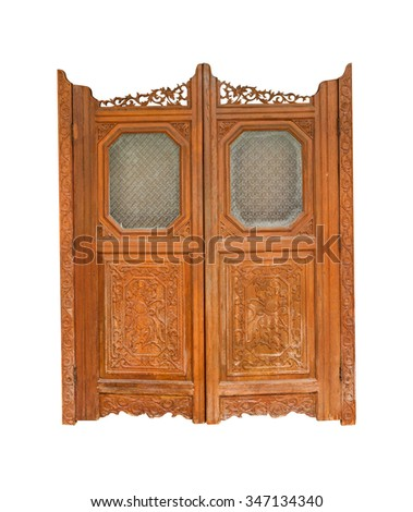 Window and the door of old buildings on white isolated background with clipping path. - stock photo