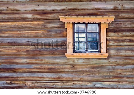 window and wooden wall background - stock photo