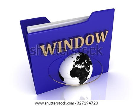 WINDOW bright gold letters on a blue folder on a white background - stock photo