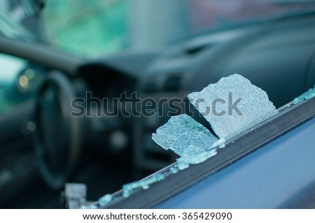 window broken car after a traffic accident - stock photo