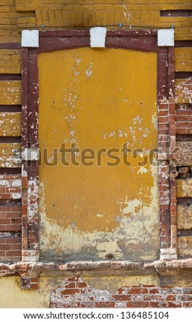 window closed with bricks, background