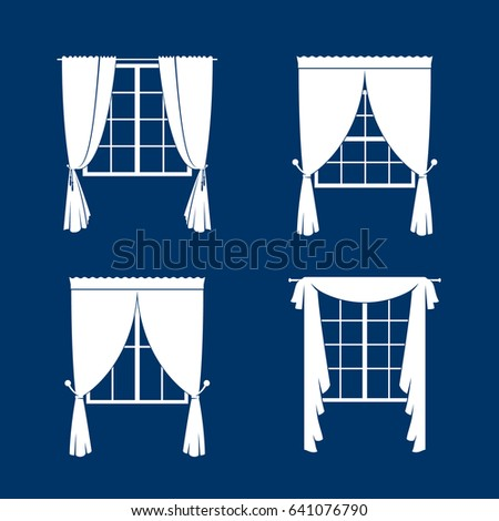 Window curtains set. White curtans and windows silhouette on blue vackground. illustration