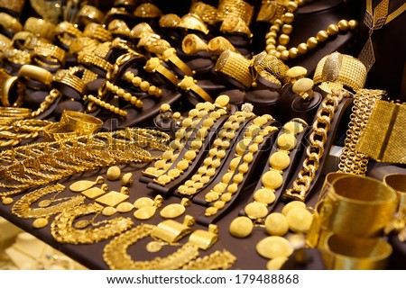 Window display of jewelry shop, asian bazaar - stock photo