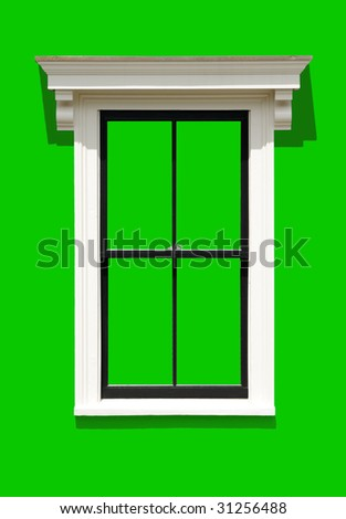 Window frame isolated on green background. Clipping path included. - stock photo